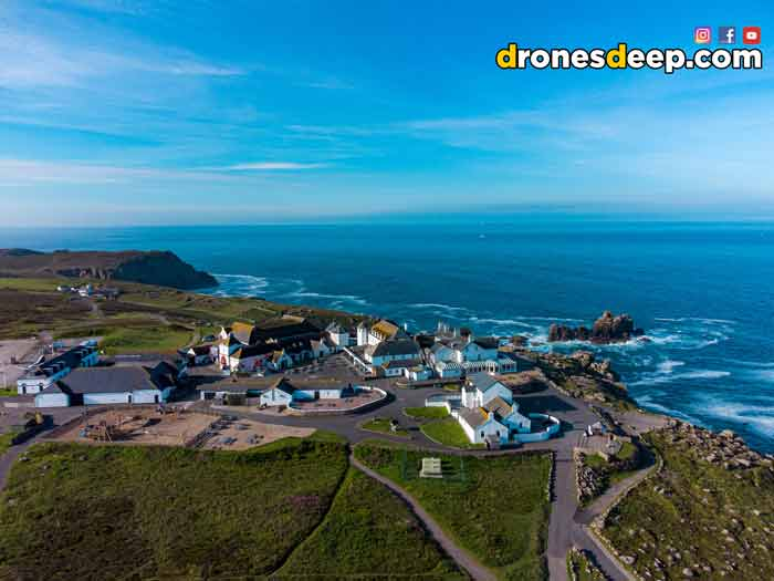 Aerial view of Lands End in Cornwall