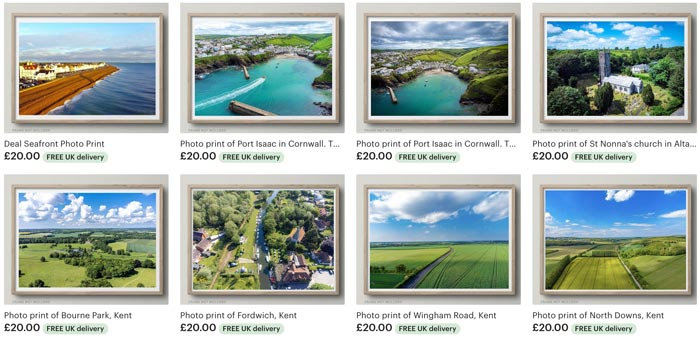 Selection of aerial photos on Drones Deep Etsy shop